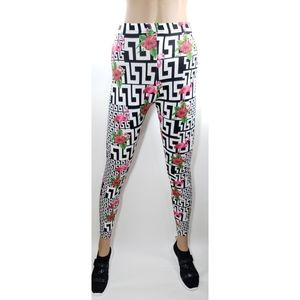 Women Flamingo and Floral Print Leggings Pants